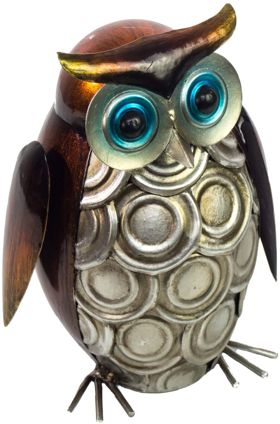 """The Creative Critters Owl Ornament 3D Metal Design - Hand-Painted - 7"""" High x 4"""" Round - Indoor or Outdoor Use - Popular Home Decor – Table Decoration in Contemporary Farmhouse Style"""