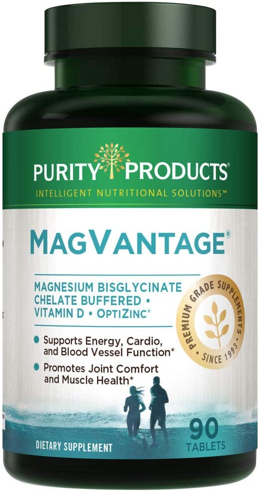 MagVantage | High Efficiency Magnesium Bisglycinate Chelate Buffered + Vitamin D + Zinc | Purity Products | Supports Energy, Cardio and Blood Vessel Function* | 90 Tablets