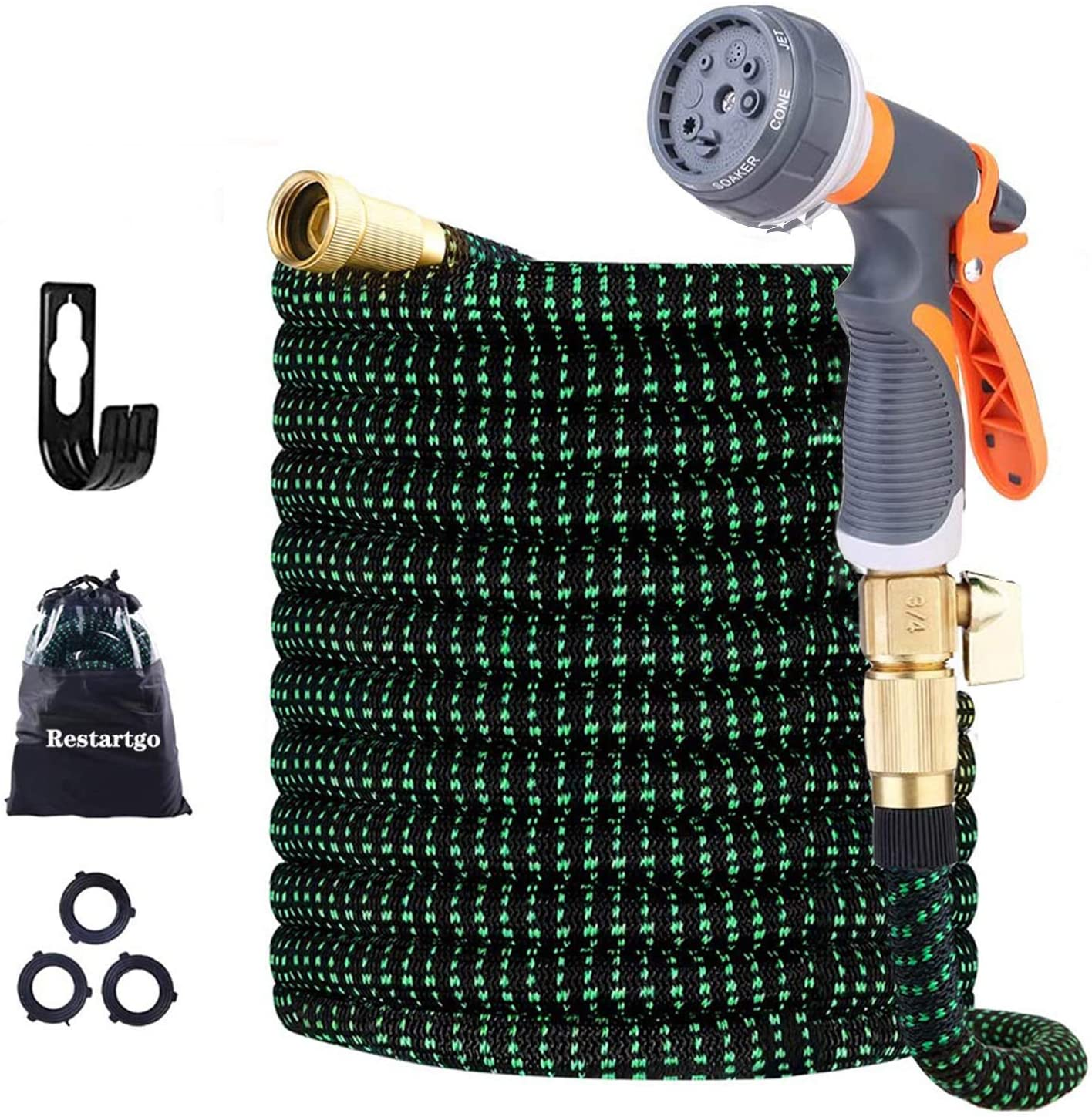 50 ft Expandable Garden Hose,50 Feet Leakproof Lightweight Garden Water Hose with Spray Nozzle,Superior Strength 3750D Expanding Garden Hoses,Durable Outdoor Gardening Flexible Hose for Watering