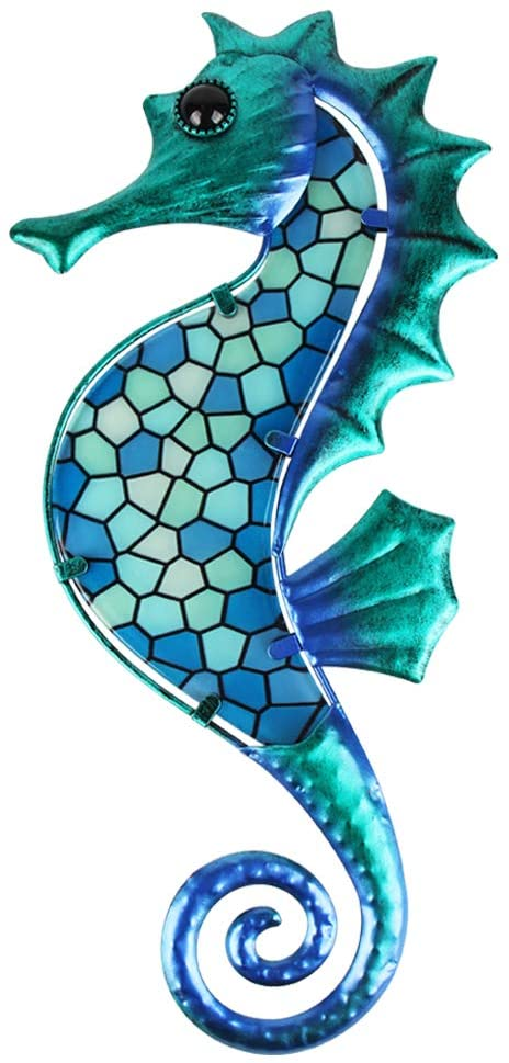 HONGLAND Metal Seahorse Wall Decor Blue Mosaic Glass Art Sculpture Hanging Ocean Decorations for Home, Garden, Bedroom, Indoor, Outdoor