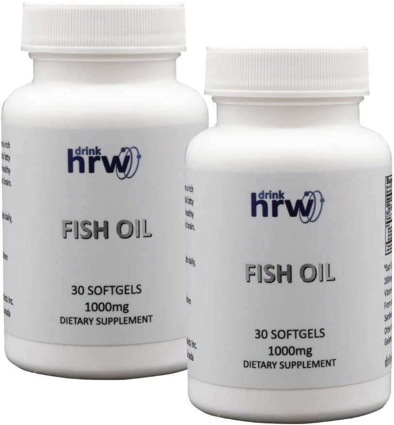 DrinkHRW Omega Fatty Acids Fish Oil, 2 Bottles, 60 Softgels Total 1000mg, Cardiovascular and Longevity Support Supplement