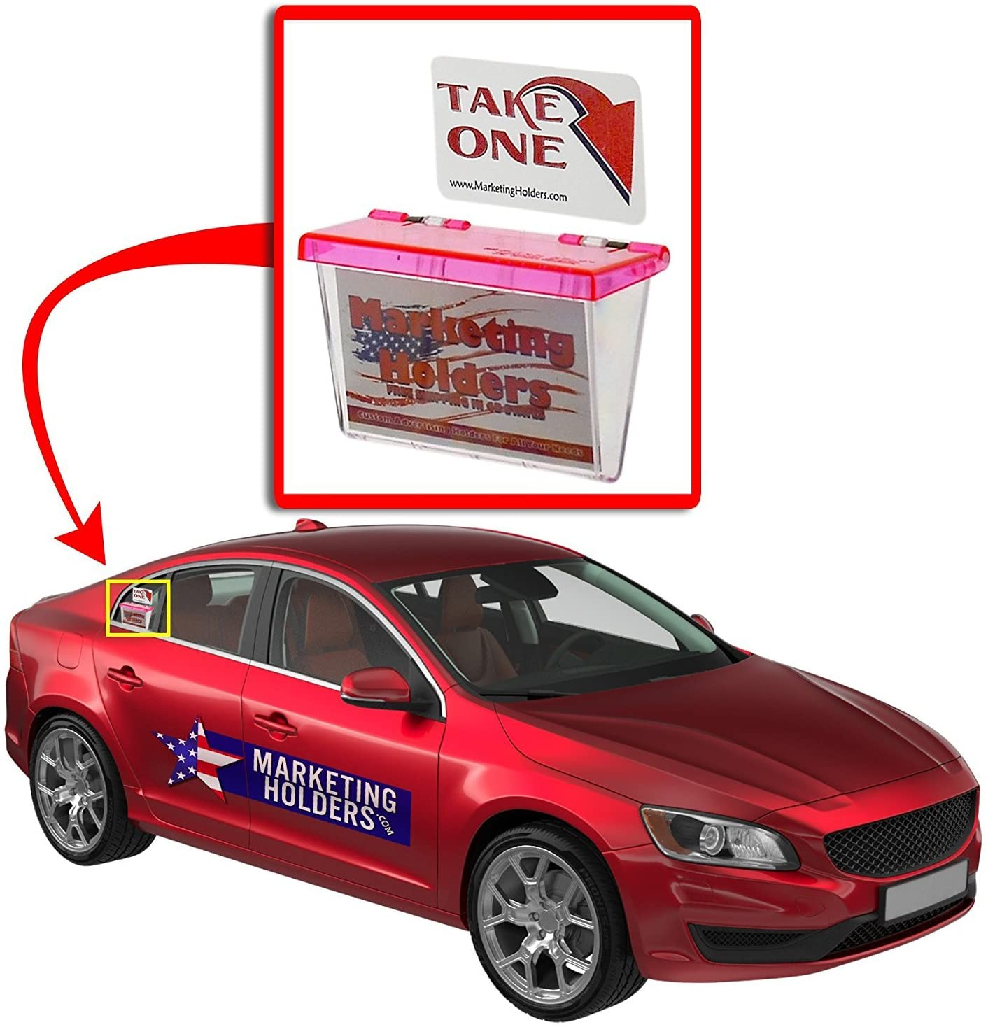 Marketing Holders Pink Outdoor Vehicle Business Card Holder FREE (TAKE A CARD) Sticker included as Pictured (Pink Lid, 2)