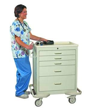 MS3C, 5 Drawer Steel Medical Crash Cart/Mobile Workstation with Single Key Lock, Hunter Green