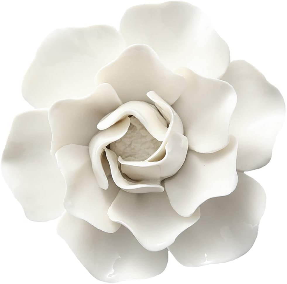 ALYCASO Ceramic Flower Wall Décor Artificial 3D Flower Wall Art for Living Room Home Hallway Bedroom Kitchen Farmhouse Bathroom Dining Room, White, F2, 4.72 inch