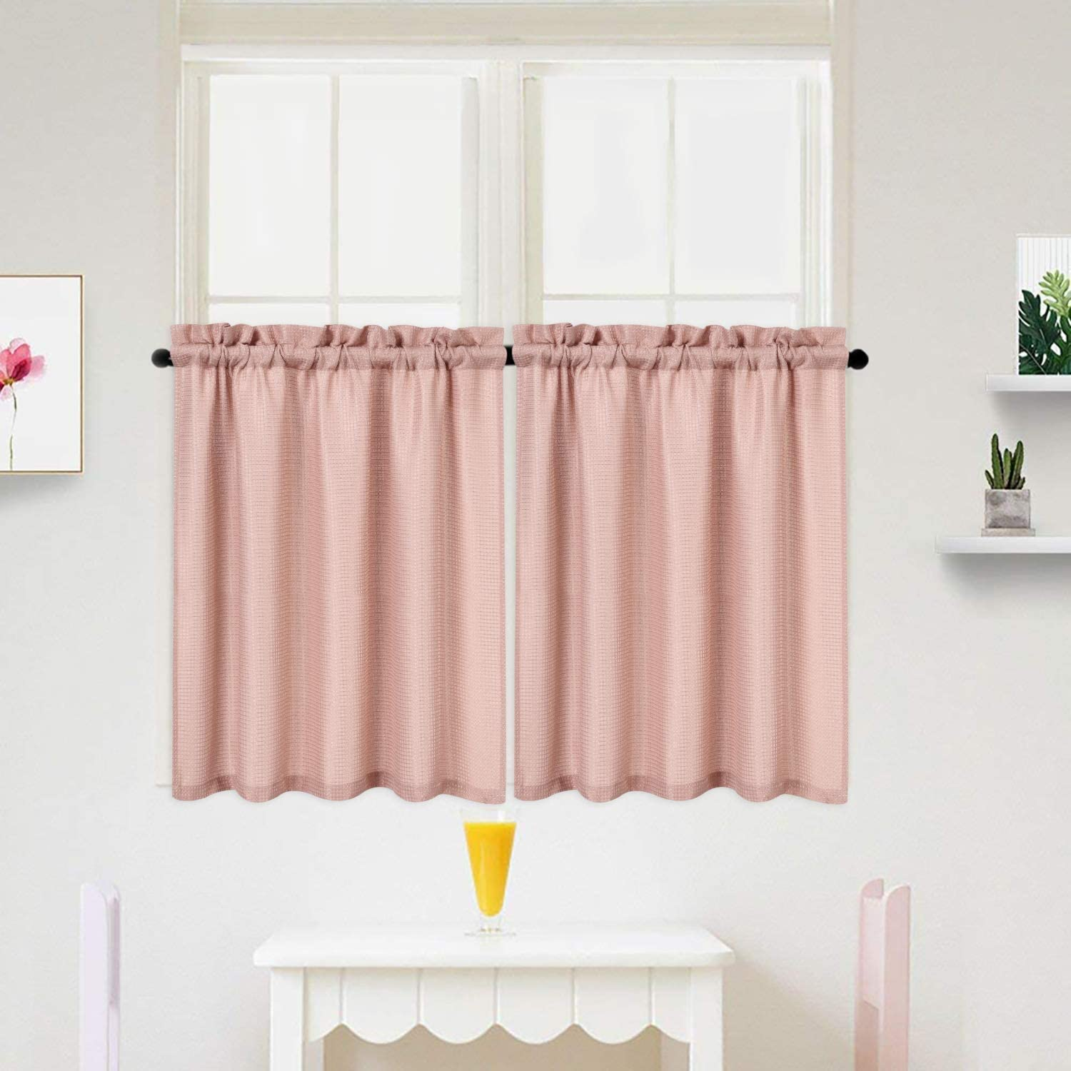 IDEALHOUSE Pink Tier Curtains,Waffle Woven Textured Short Window Curtain for Cafe,Bathroom,Kitchen & Kids Bedroom Rod Pocket Curtains (2 Panels, 30Inch Wide by 36Inch Long)