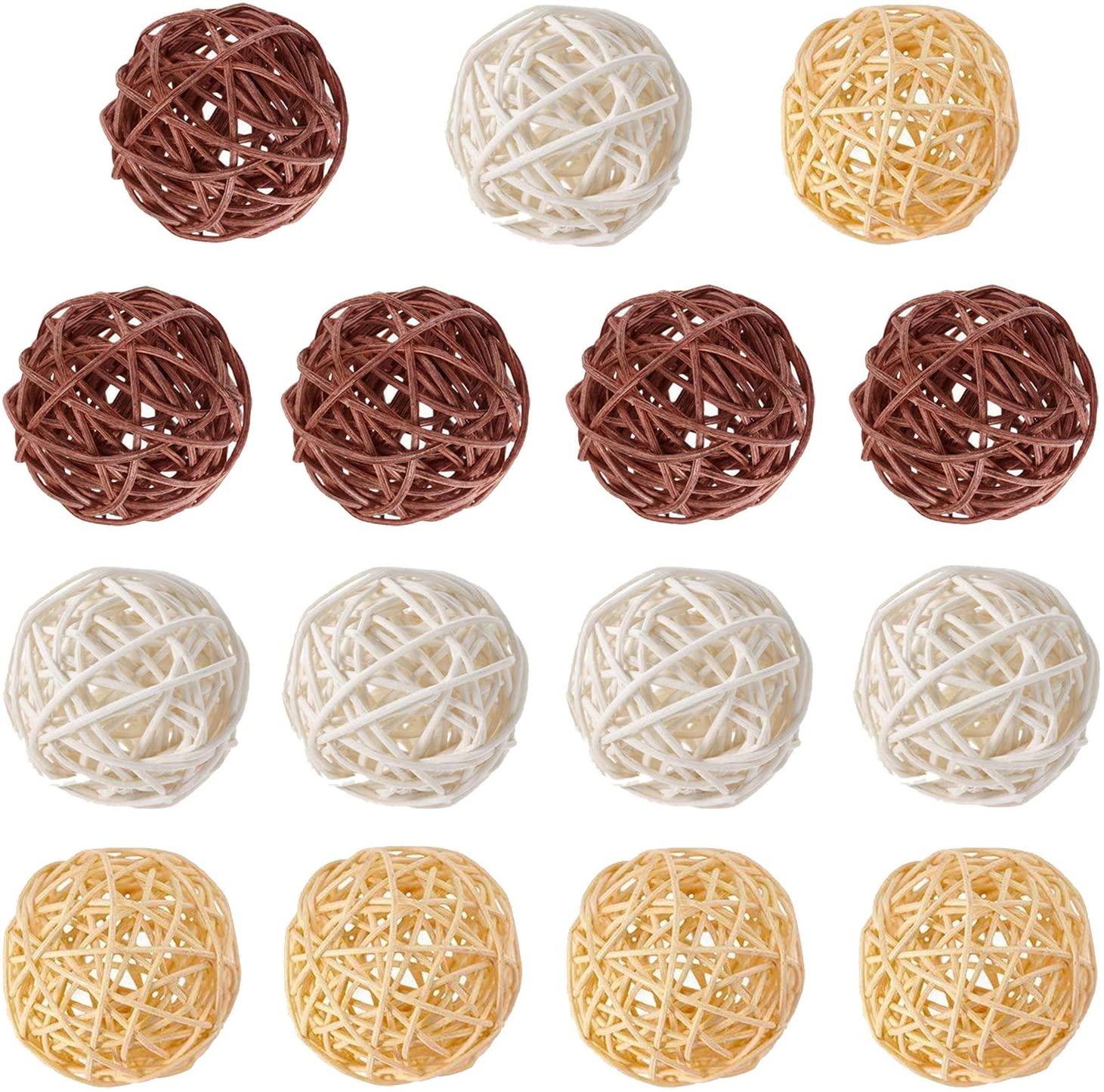 Worldoor 15pcs Mixed White Beige and CoffeeWicker Rattan Balls Decorative Orbs Spherical Natural Woven Vase Filler, Balls Spheres Orbs Filler