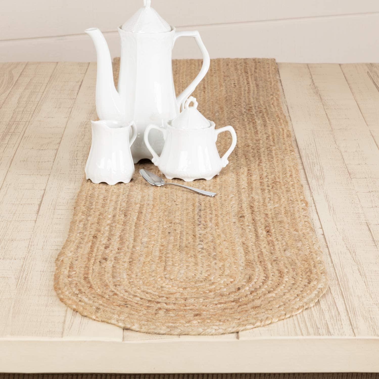 VHC Brands Jute Table Runner, 13x72, Natural Tan