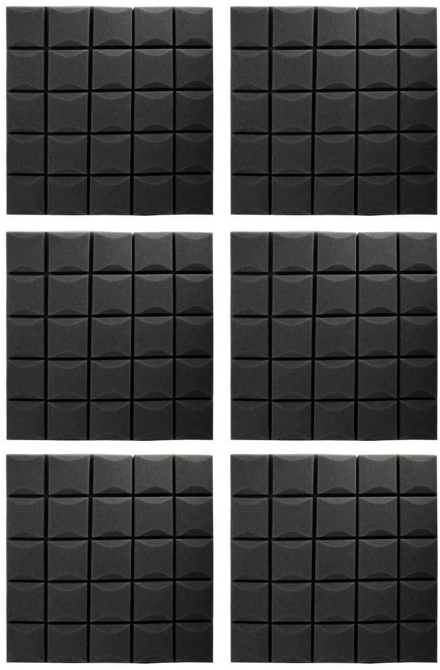 6PCS Mushroom Soundproof Foam Sound-Absorbing Cotton Foam Acoustic Panels Studio Soundproofing Foam Wedges Tiles, 19.7x19.7x1.2in(Common Black)