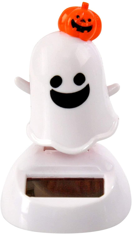 Home-X Ghost and Pumpkin Solar Dancer Figure, Solar-Powered Dancing Office Desk Decor, Windowsill or Car Dashboard Decoration