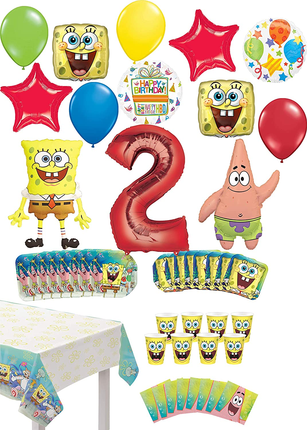 Spongebob Square Pants 2nd Birthday Party Supplies 8 Guest Table Decor and Balloon Bouquet Decorations