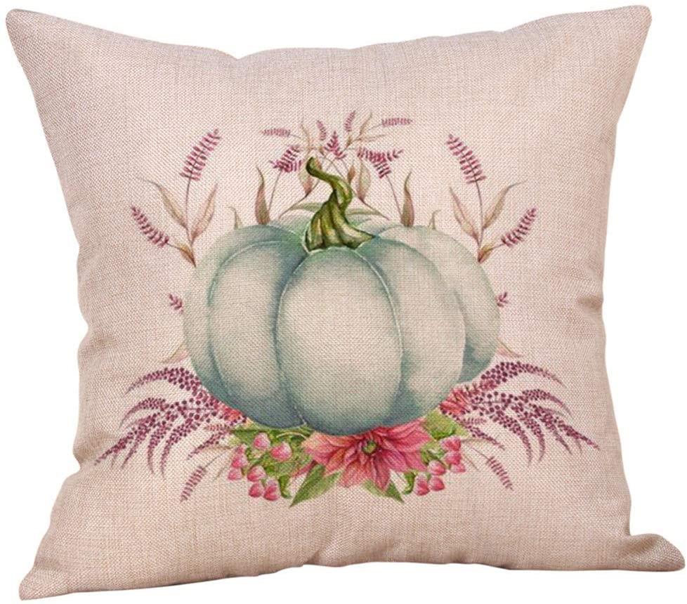 JIUTONG Halloween Ornaments Pumpkin Pattern Cushion Cover Cotton Pillowcase Dirt Resistant Decor Blanket Covers