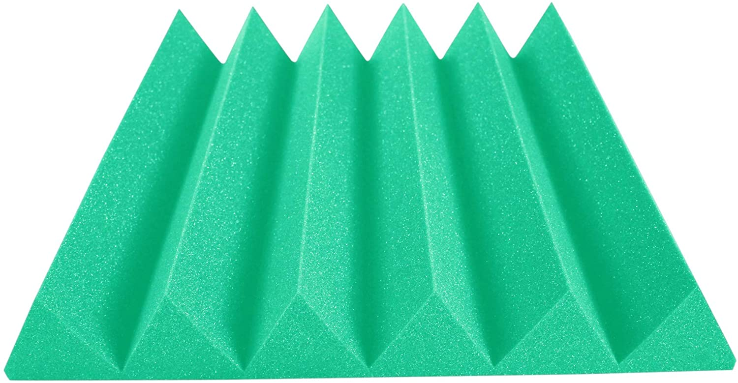 Acoustic Foam Panels 24x24 Inch 12 Pack, 48 Square Feet, Used For Recording Studio Sound Reduction, Wedge Style Soundproofing Tiles, 48 Sq Ft (4 Inch Thick, Kelly Green)