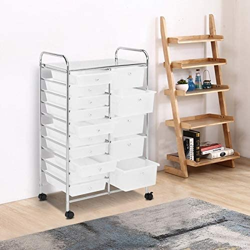 Rolling Storage Cart and Organizer with 12 Plastic Drawers for School Office Home Beauty Salon Black Multi Color White Modern Contemporary