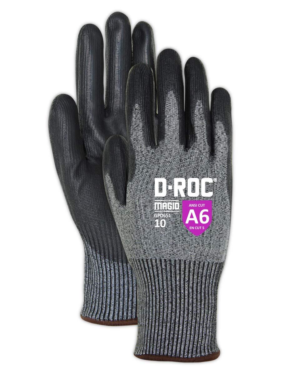 Magid D-ROC GPD651 Hyperon Polyurethane Palm Coated Work Gloves – Cut Level A6 (12 Pair)