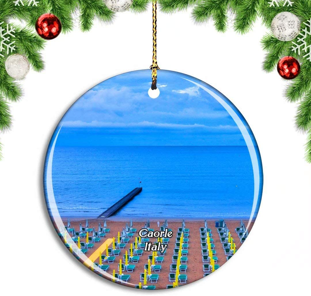 Weekino Italy Caorle Beach Christmas Xmas Tree Ornament Decoration Hanging Pendant Decor City Travel Souvenir Collection Double Sided Porcelain 2.85 Inch