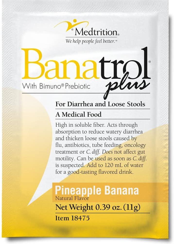 Fast Natural Anti-Diarrhea Medicine Relief Kids, Adults |Banatrol Plus| Banana Flakes and Prebiotic| Pineapple Banana Flavor 21 doses