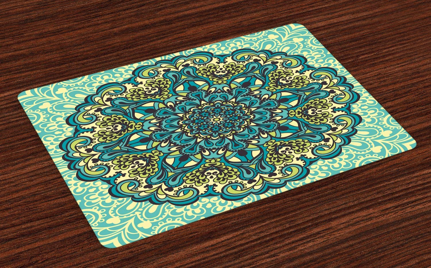 Ambesonne Ethnic Place Mats Set of 4, Abstract Flower Arrangement Mandala Style Nature Elements Vibrant, Washable Fabric Placemats for Dining Table, Standard Size, Yellow Turquoise