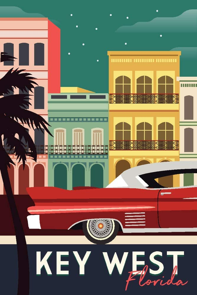Key West, Florida - Buildings and Vintage Car - Vector (9x12 Art Print, Wall Decor Travel Poster)