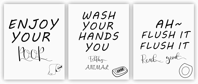 "Nelly Story Bathroom Quote Art Prints Funny Words Quote Wall Signs Art Prints Bathroom Sayings Prints Modern Washroom Decor Great Gift Canvas Kids Bathroom Home Wall Decor -8""x10"" Unframed"