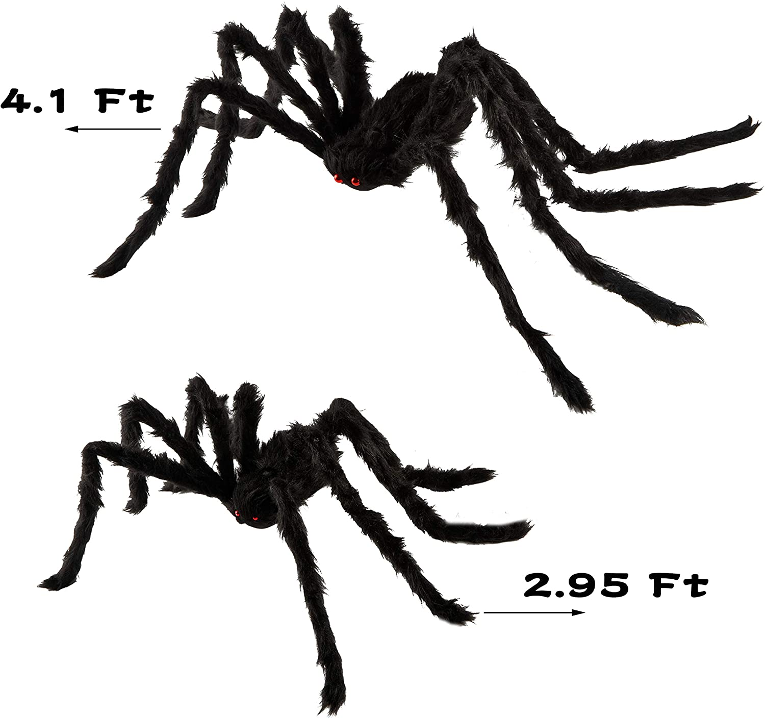 QBSM 2 Pcs Realistic Hairy Giant Spider Real Large Fake Spiders for Halloween Outdoor Decoration House Prank Prop (One 49.2