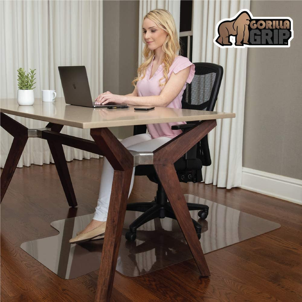 Gorilla Grip Premium Polycarbonate Chair Mat for Hard Floor Surfaces, 47x29, Heavy Duty, Easy Glide Transparent Mats for Chairs, Good for Desk, Office and Home, Protects Floors, with Lip, Clear