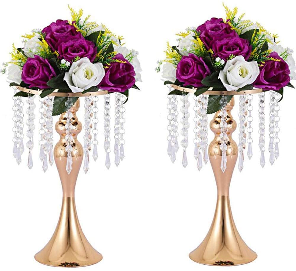 Lovecat Set of 2 Wedding Flower Vases, Wedding Road-Leading Vases, Acrylic Crystal Flower Stands, Metal Centerpiece Vases for Home Engagement Anniversary Party Decor (Gold, 33cm Mermaid)