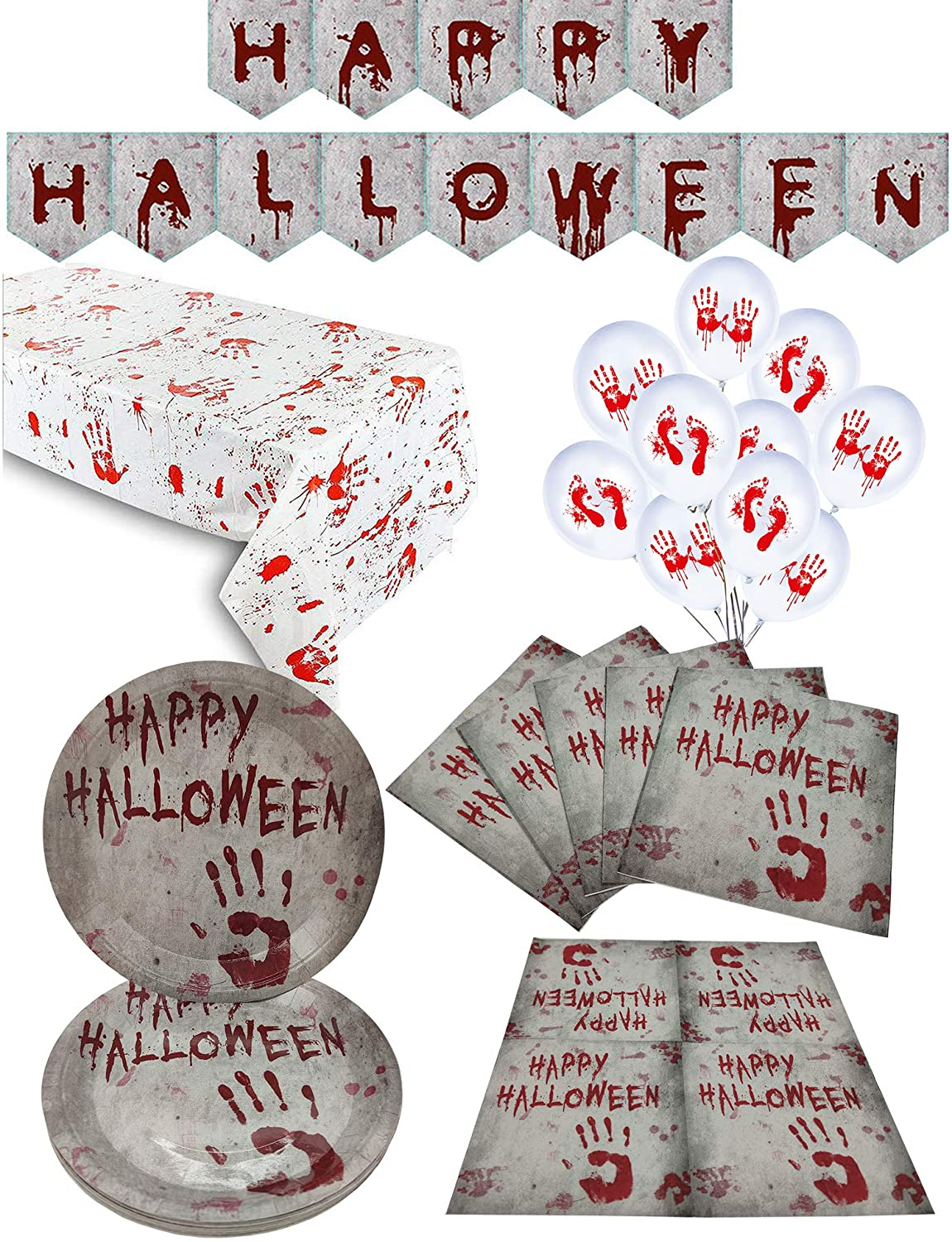 Halloween Party Supplies,1 Pack Party Tablecloth,16 Plates,24 Napkins,Happy Halloween Banner,Scary and Bloody Zombie Handprints Table Cover,Perfect for Halloween Scary Party Decorations (16 Guest)