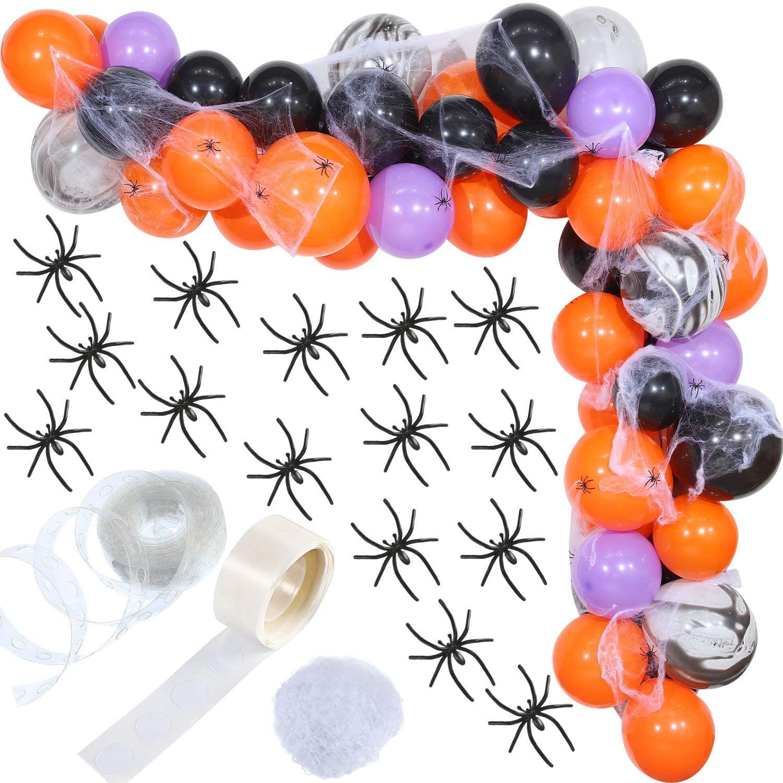 Halloween Balloon Garland Kit Black Orange Purple Balloons Arch with Halloween Spider Web and 24 Pieces Halloween Plastic Spiders for Halloween Decoration