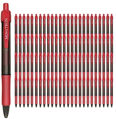 Mingtron 100 Pack Retractable Gel Ink Rollerball Pen, Ink Pen, Red Pen, Pen Set, Ball Pen, Bulk Pens, Journal Notebook Writing Office Supplies Pens, School Supplies, Extra Fine, 0.5MM, Red