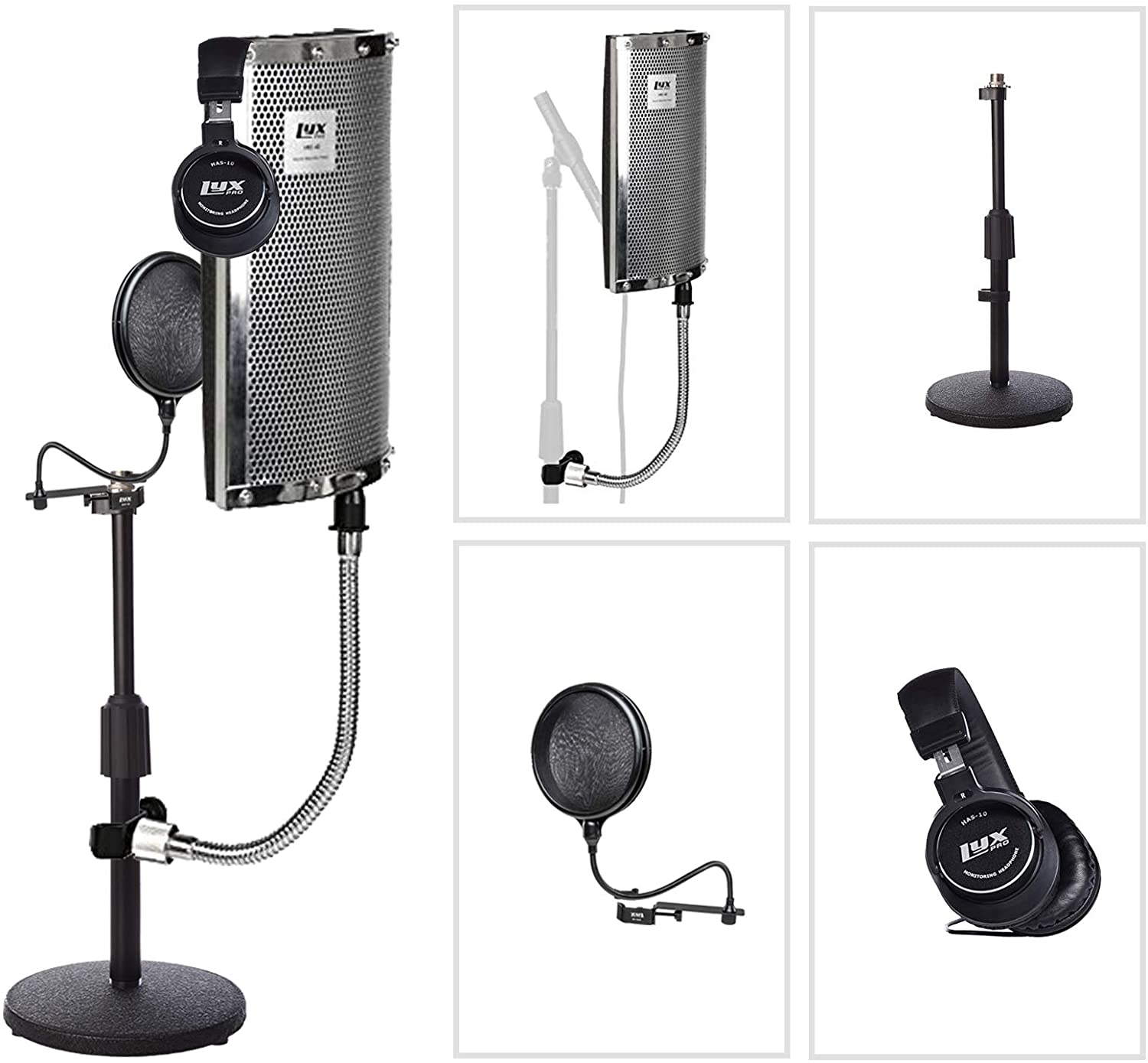 LyxPro Gooseneck Vocal Booth 40 Portable Acoustic Instrument Shield, Sound Absorbing Panel, with Adjustable Desktop Microphone Stand and Dual Layer Pop Filter and Professional Studio Headphones