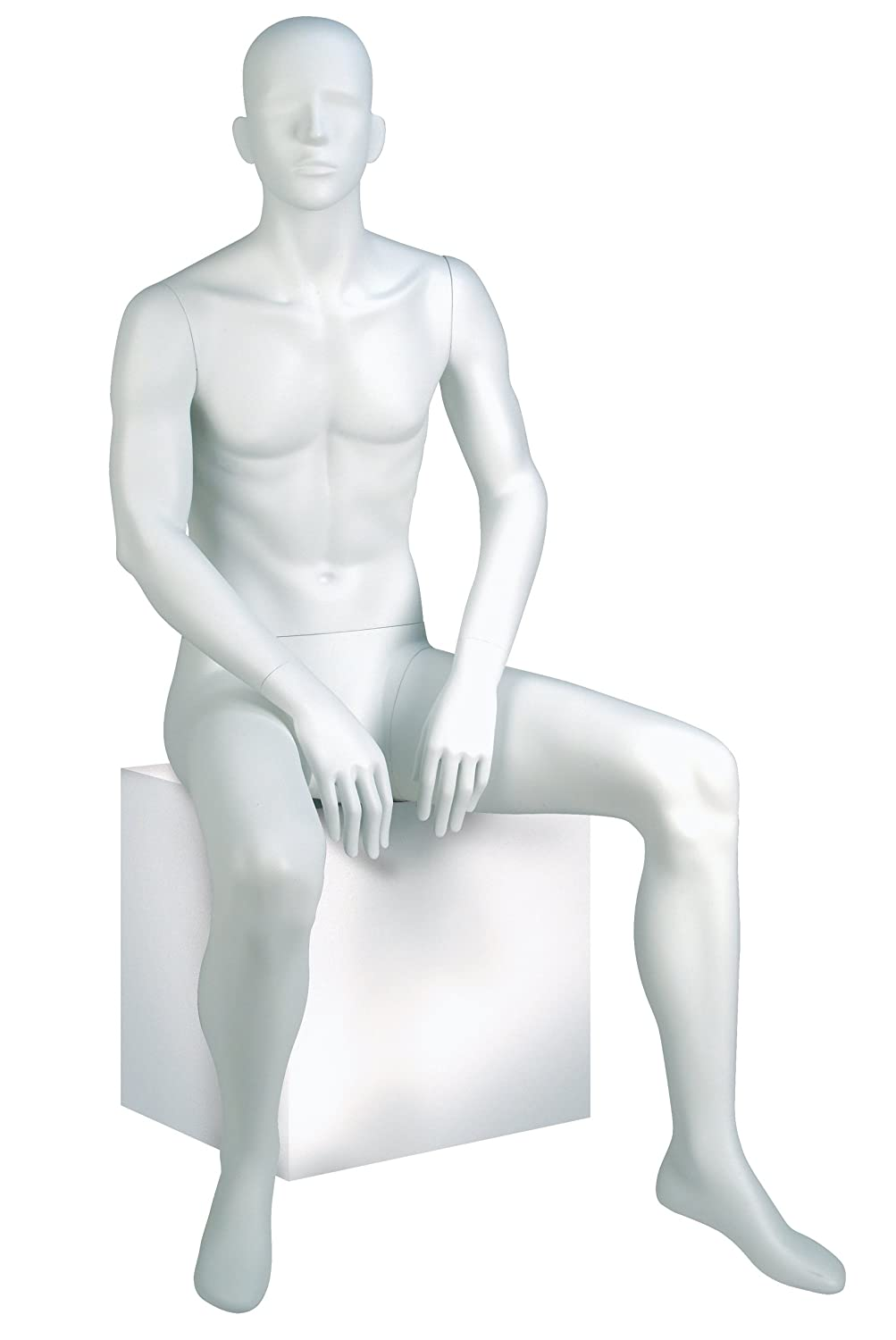 Econoco GEN-5H-OV Male Mannequin, Oval Head, Seated, True White