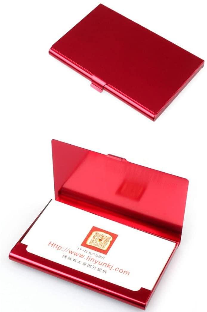 Sikye Slim Business Card Holder,Creative Aluminum Metal ID Credit Business Card Wallet Case for Men Women (Red)