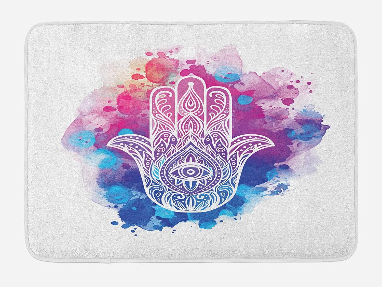 Ambesonne Evil Eye Bath Mat, Ornate White Hand Drawn Hamsa on Watercolor Splashes Energetic Print, Plush Bathroom Decor Mat with Non Slip Backing, 29.5