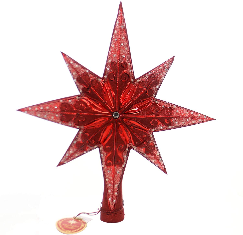 Christopher Radko Ruby Stellar Star Finial Christmas Tree Topper Ornament