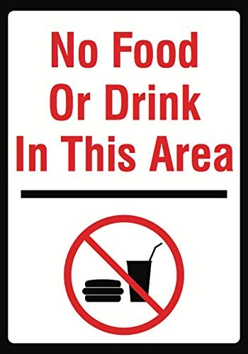 No Food Or Drink in This Area Sign - Large Keep Out Not Permitted Signs - Aluminum Metal 6 Pack, 12x18