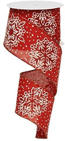 Glittered Snowflake Wired Edge Ribbon - 10 Yards (Red, White, 2.5