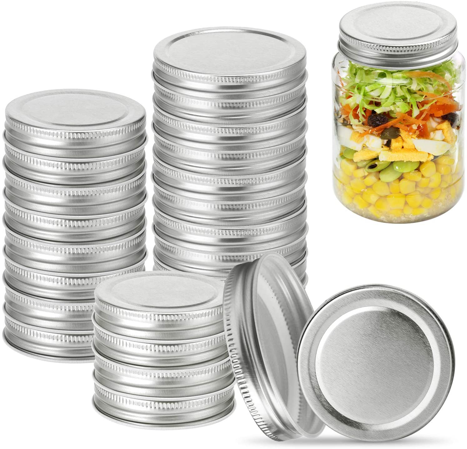 Mason Jar Lids 24 Pack,12 Wide Mouth & 12 Regular Spout Can Lids, Leak-Proof and Tightness Safety Mason Storage Solid Lid. Silver Canning Jar Lids