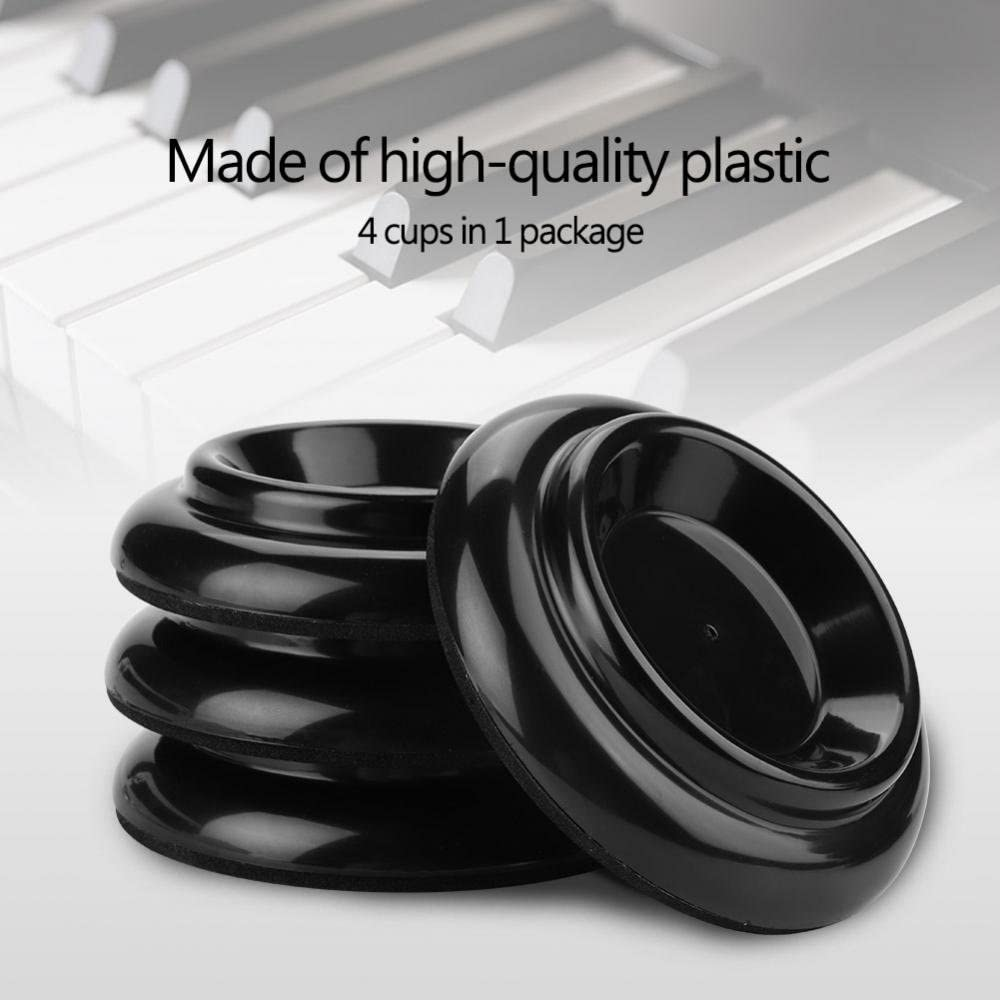 Sorand Black Non-Slip Piano Caster Pads, Plastic Lightweight Piano Foot Cup, for Upright Pianos Protecting Floor Piano