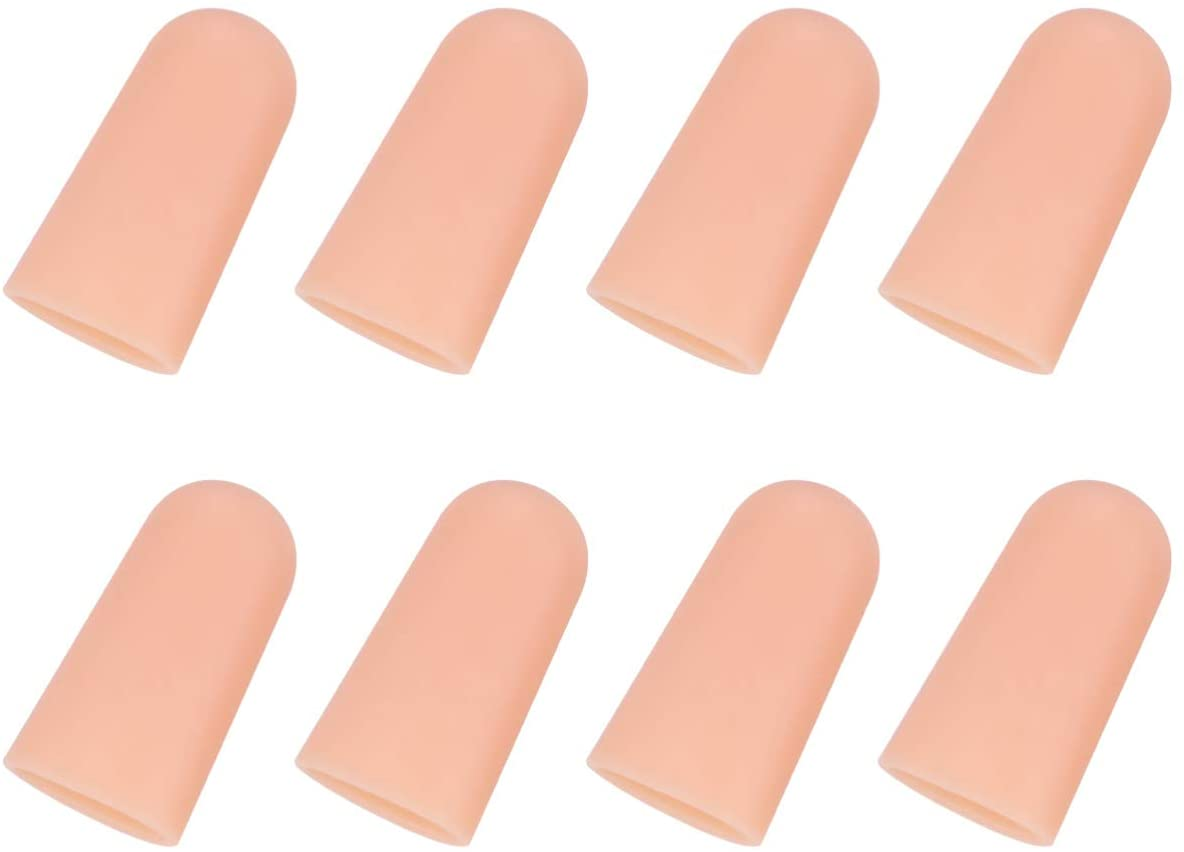 Minkissy Gel Finger Cots, 10 Pairs Finger Support Protector Gloves Finger Covers Cots Finger Sleeves for Hands Cracking Eczema Skint (Closed L Khaki)