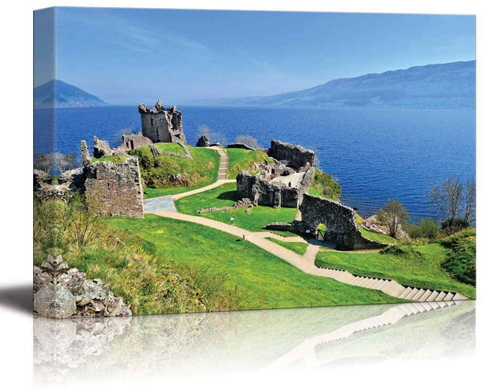 Beautiful Scenery Landscape of Ruins of Urquhart Castle Along Loch Ness Scotland - Canvas Art Wall Art - 16