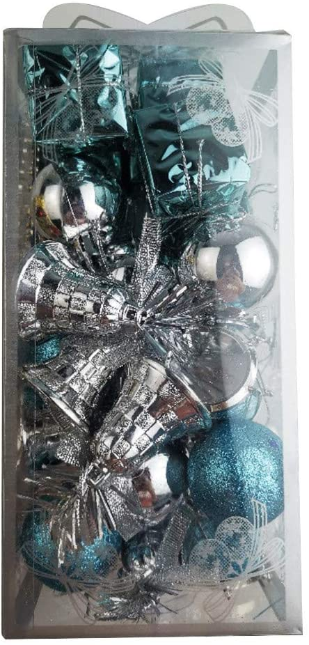 Danmily Christmas Decorations, 1.57/4cm Christmas Ball Ornaments for Tree Decor, Xmas Tree Ornaments Hooks Balls with Present Box for Wedding Xmas Home Party Decor (32 PCS/Pack, Blue)