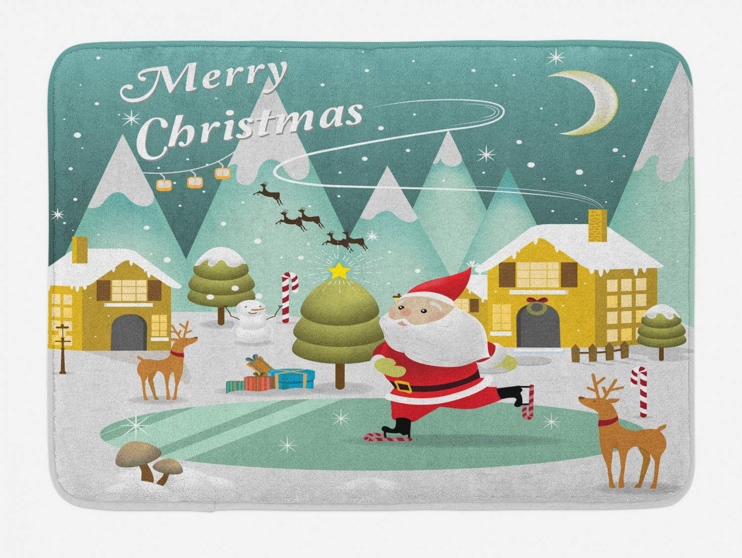 Lunarable Merry Christmas Bath Mat, Snowy Xmas Scene Doodle Ice Skating Santa Reindeer Gift Boxes Print, Plush Bathroom Decor Mat with Non Slip Backing, 29.5
