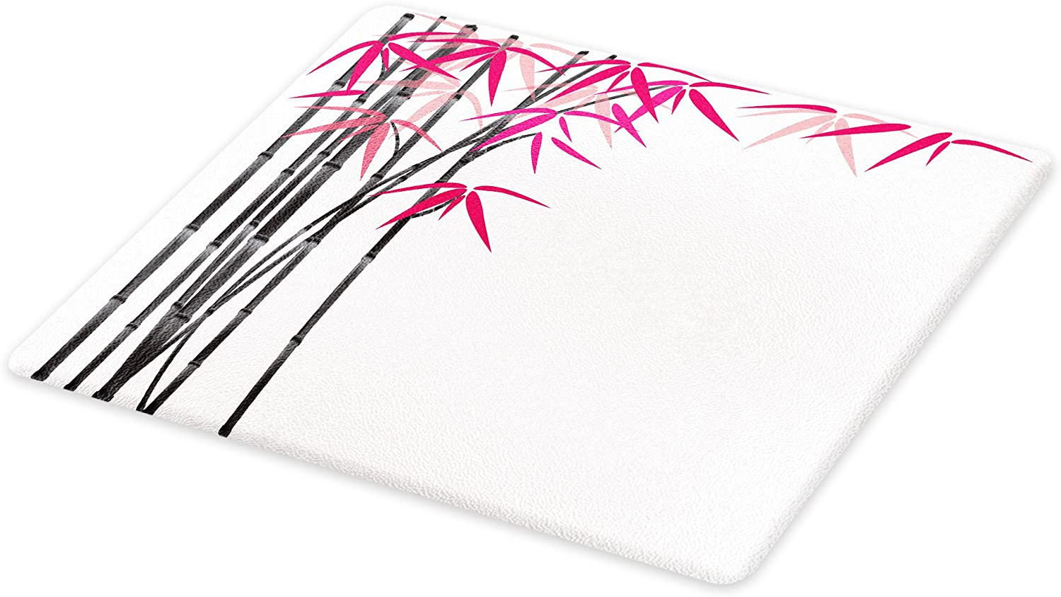 Lunarable Bamboo Cutting Board, Bamboo Tree with Colorful Leaves Exotic Elements Bushes Work, Decorative Tempered Glass Cutting and Serving Board, Small Size, Pink Grey White
