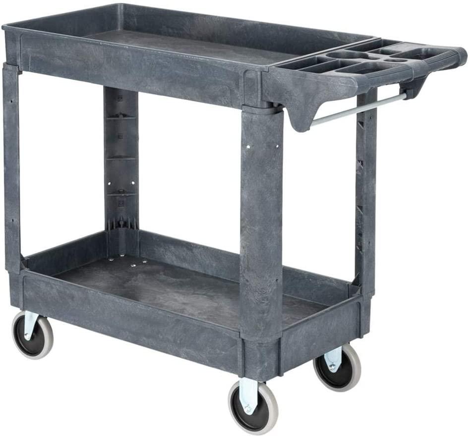 Storage Trolley Plastic, 2-Layer Storage Shelves Trolley Service Cart Rolling Utility Organizer Rack for Bathroom, Kitchen, Office