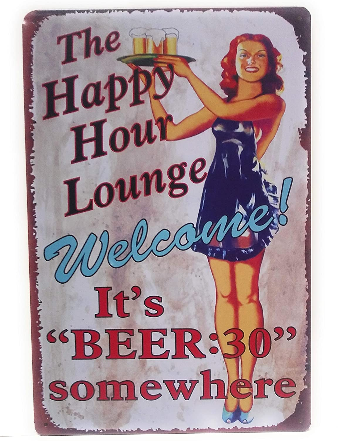 The Happy Hour Lounge Welcome! It's Beer 30 Somewhere, Funny Sign, Beer Sign, Happy Hour Sign, Wall Decor, Kitchen Sign, 8-inch by 12-inch Sign | TSC353 |