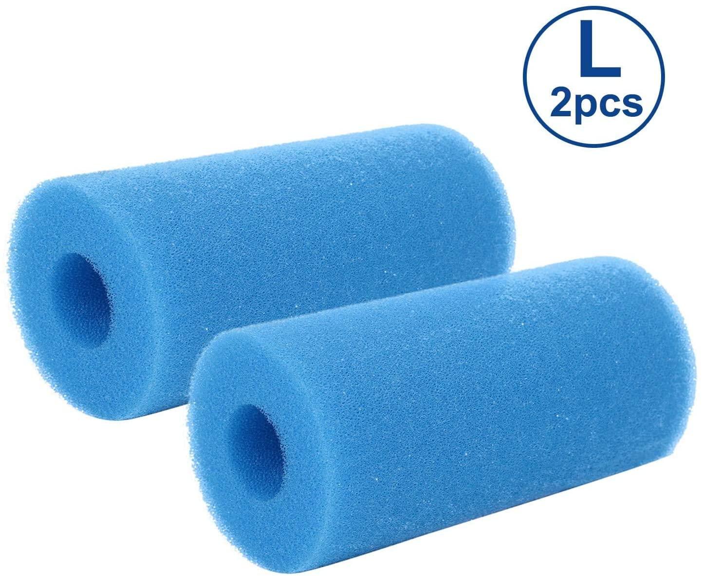 gofidin 2 Pcs Swimming Pool Hot Tub Filter Foam Reusable Filter Cartridge for Intex Type (1.57x3.94x7.87 in)