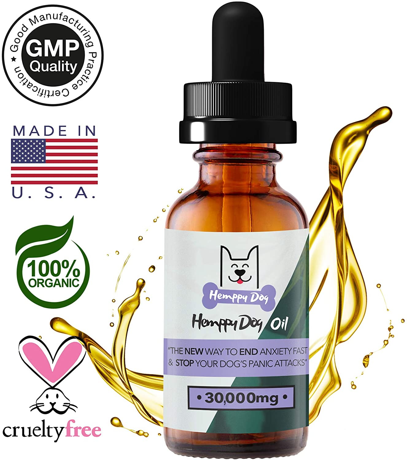 HEMPPY DOG Hemp Oil for Dogs, Anxiety, Stress Relief, Calming Organic Oil, Excellent in Aiding Separation Anxiety, Seizures, Chronic Pains, Anti Inflammatory, Irritations, Joint Pain from Arthritis