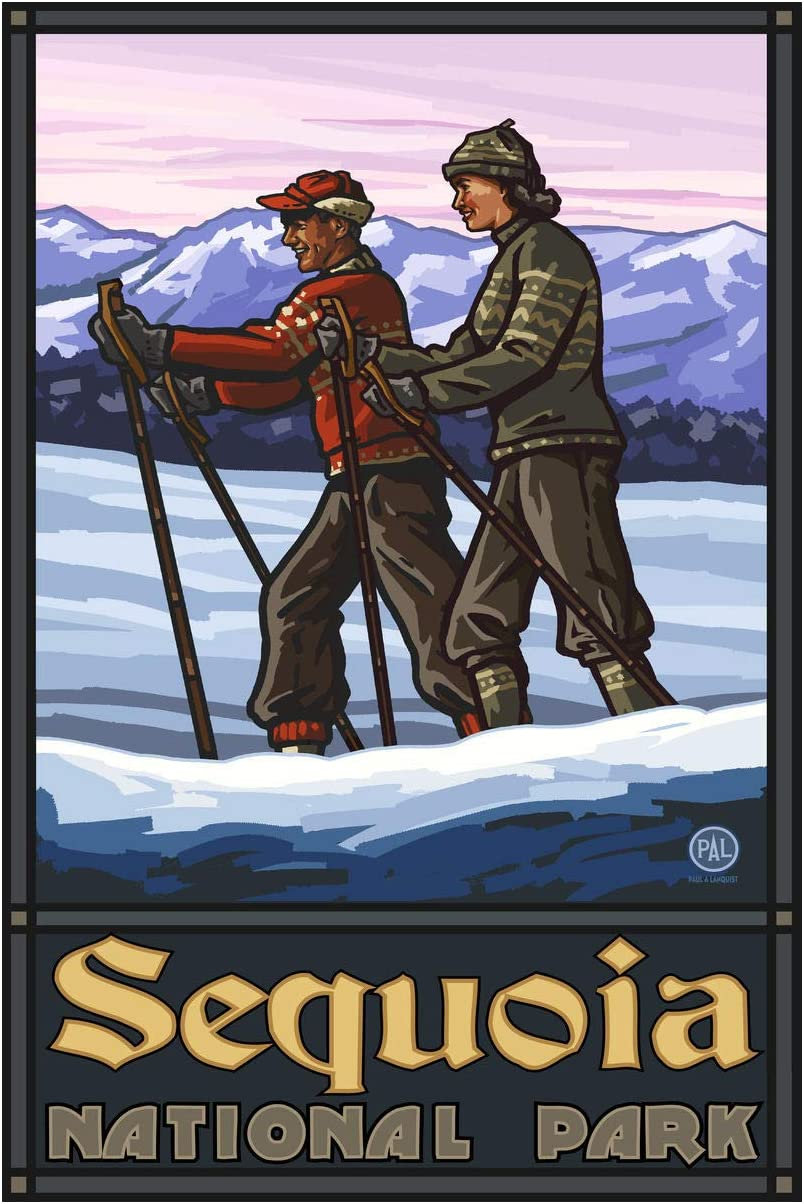 Sequoia National Park Cross Country Skiers Giclee Art Print Poster from Original Travel Artwork by Artist Paul A. Lanquist 24