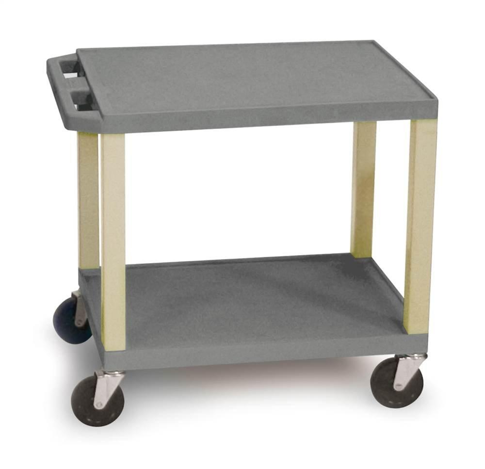 H WILSON WT26GYE Rolling Plastic AV Multipurpose Utility Storage Cart, Gray and Putty