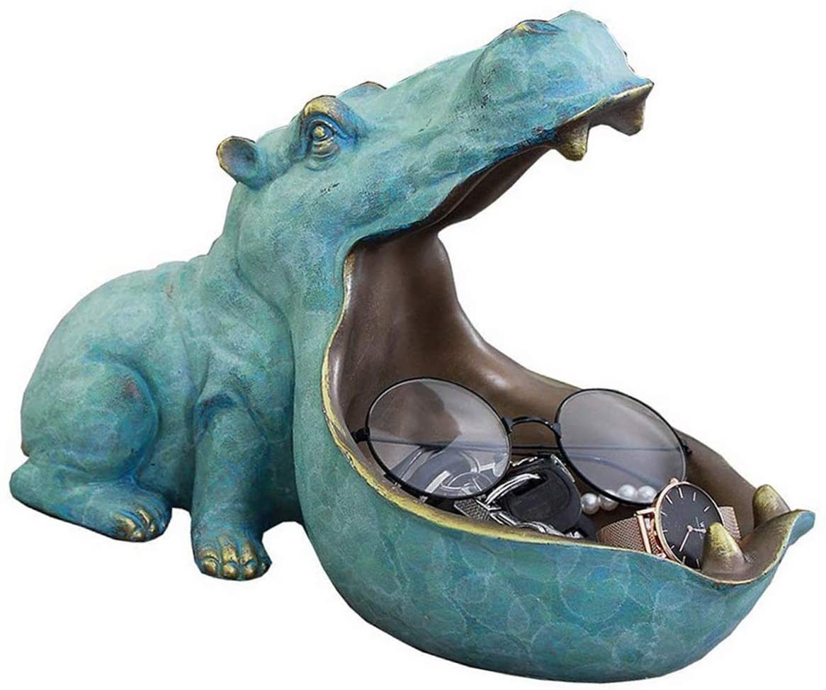 nice--buy Hippo Statue Resin Hippopotamus Figurine Sculpture Home Table Decoration Storage Resin Artware Animal Hippo Sculpture Sundries Container Key Candy (Light Blue)